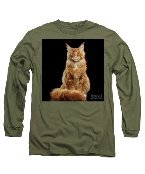 Portrait Of Ginger Maine Coon Cat Isolated On Black Background Long Sleeve T-Shirt