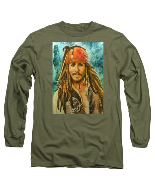 Portrait Of Johnny Depp Long Sleeve T-Shirt by Charmaine Zoe