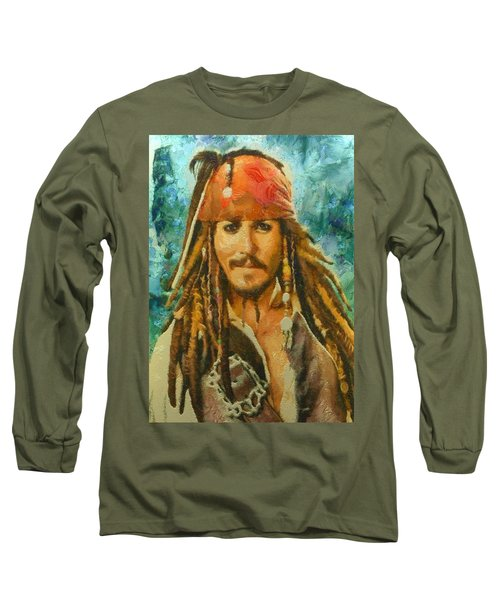 Portrait Of Johnny Depp Long Sleeve T-Shirt