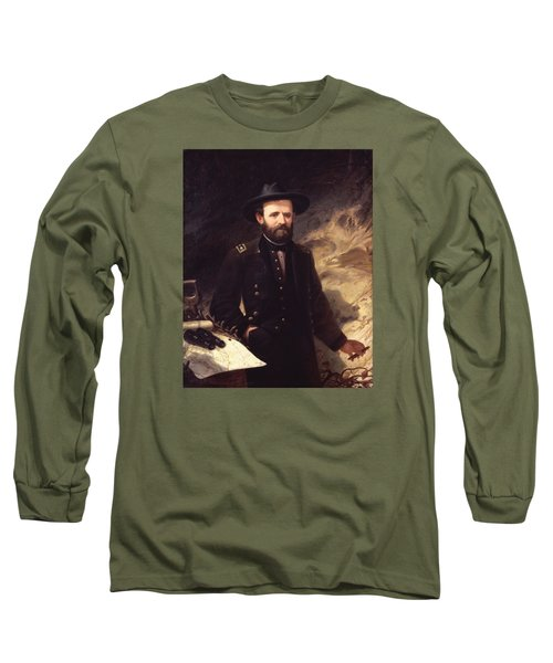 Portrait Of Ulysses S. Grant Long Sleeve T-Shirt by Ole Peter Hansen Balling