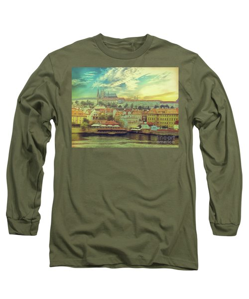 Long Sleeve T-Shirt featuring the photograph Prague Riverview by Leigh Kemp