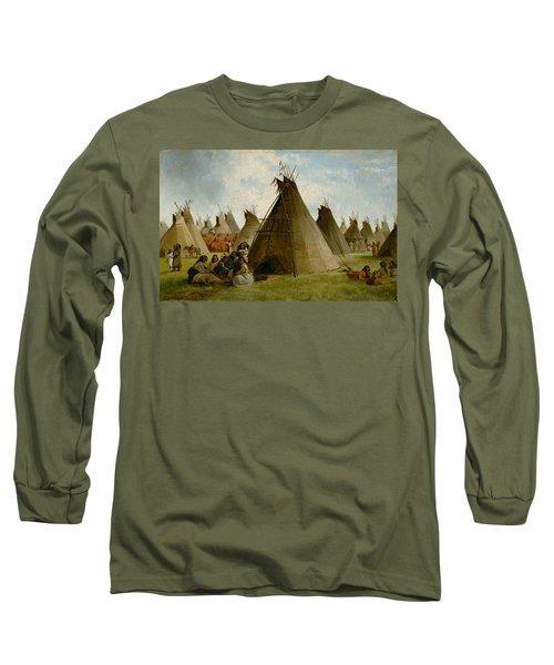 Prairie Indian Encampment Long Sleeve T-Shirt