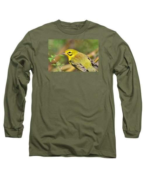 Prairie Warbler Long Sleeve T-Shirt by Kathy Gibbons