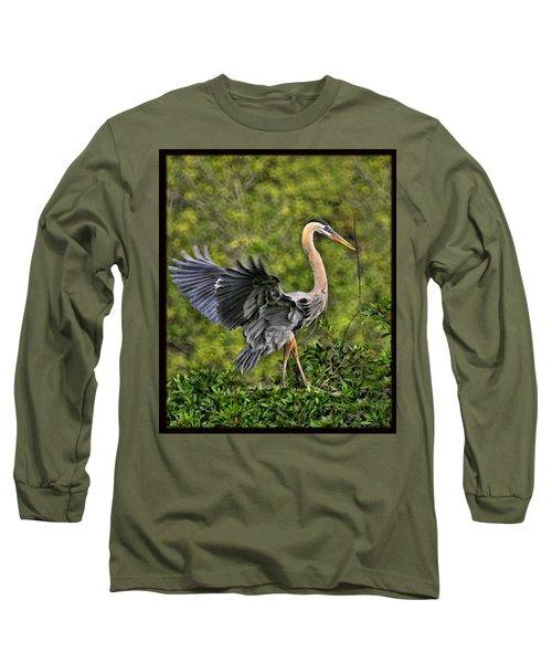 Prancing Heron Long Sleeve T-Shirt by Shari Jardina