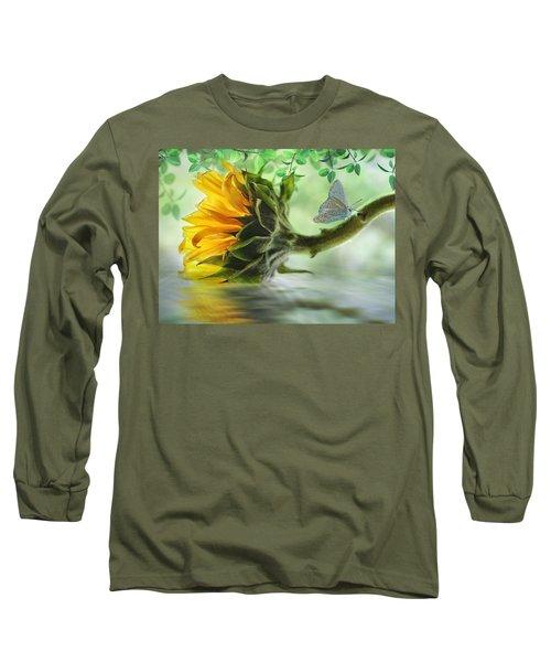 Pretty Sunflower Long Sleeve T-Shirt by Nina Bradica