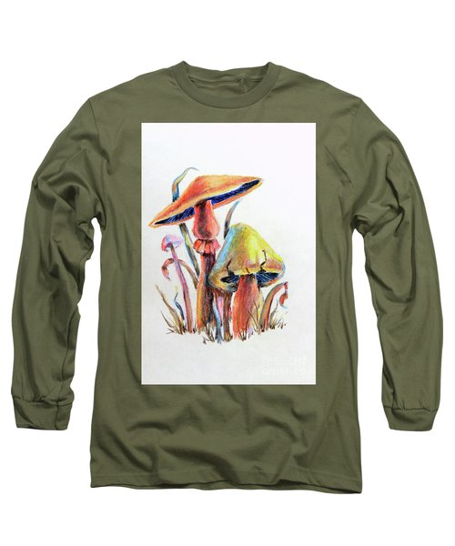 Psychedelic Mushrooms Long Sleeve T-Shirt by Pattie Calfy
