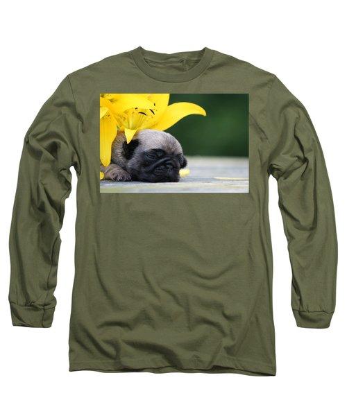 Puggy Face Bouqet Long Sleeve T-Shirt