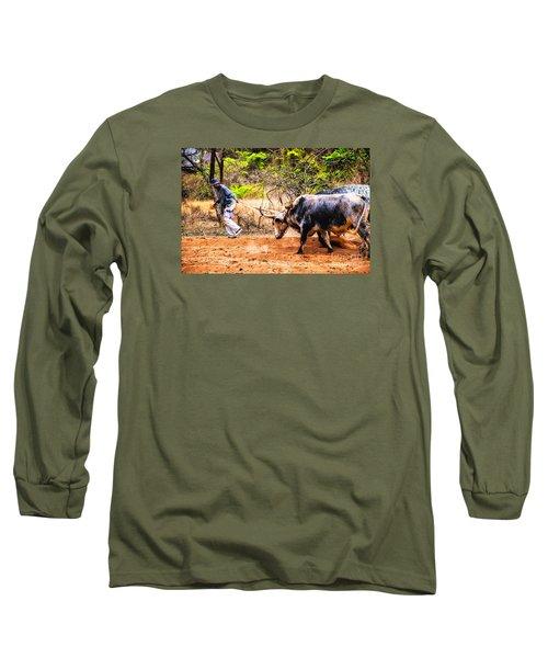 Pulling The Beasts Long Sleeve T-Shirt by Rick Bragan