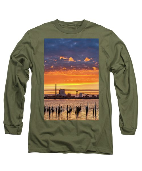 Long Sleeve T-Shirt featuring the photograph Pulp Mill Sunset by Greg Nyquist