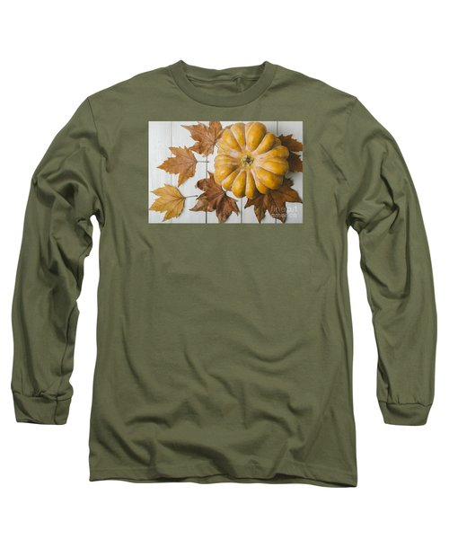 Pumkin And Maple Leaves Long Sleeve T-Shirt