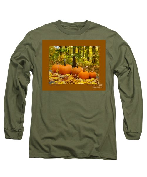 Pumpkins And Woods-iii Long Sleeve T-Shirt by Patricia Overmoyer