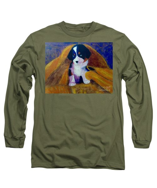 Long Sleeve T-Shirt featuring the painting Puppy Bath by Donald J Ryker III