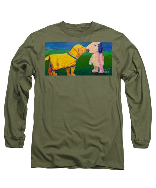 Long Sleeve T-Shirt featuring the painting Puppy Say Hi by Donald J Ryker III