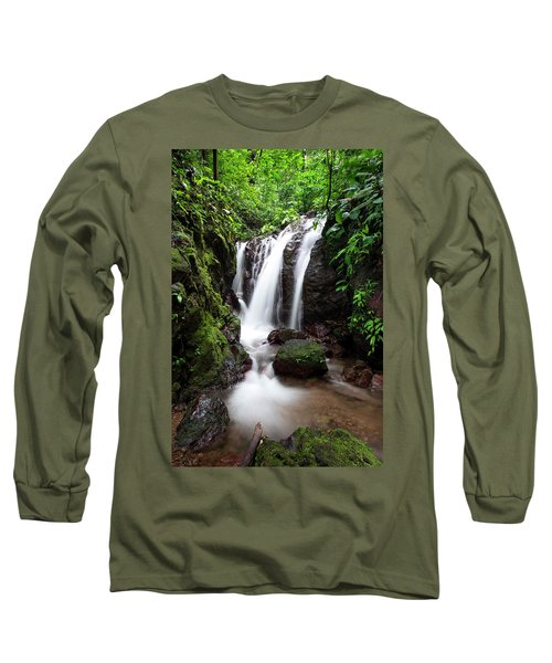 Long Sleeve T-Shirt featuring the photograph Pura Vida Waterfall by David Morefield