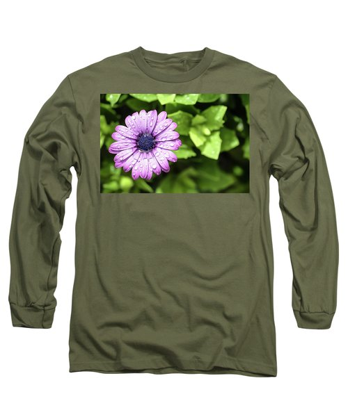 Purple Flower On Green Long Sleeve T-Shirt