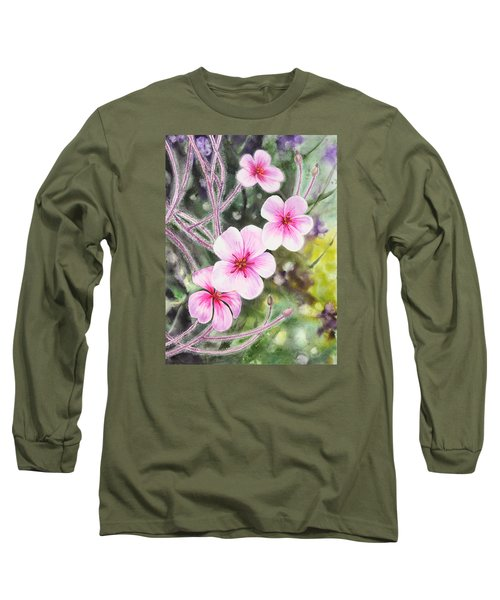 Long Sleeve T-Shirt featuring the painting Purple Flowers In Golden Gate Park San Francisco by Irina Sztukowski