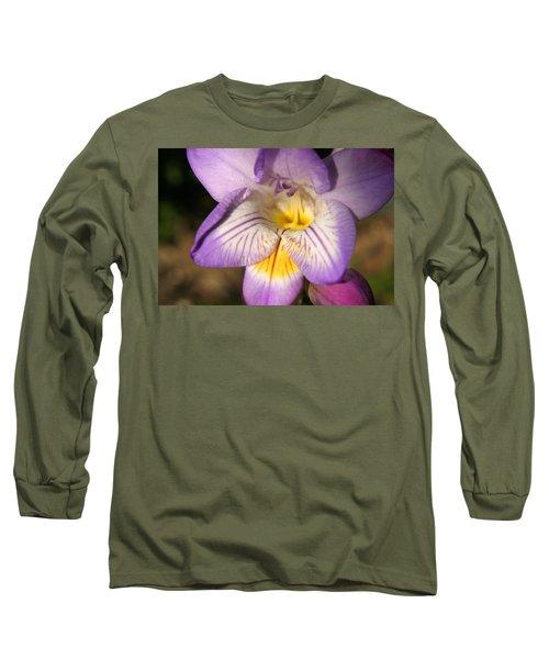 Purple Fresia Flower Long Sleeve T-Shirt by Ralph A  Ledergerber-Photography
