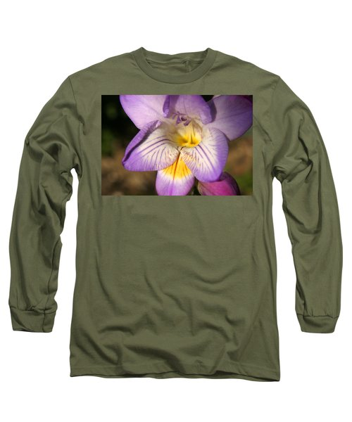 Purple Fresia Flower Long Sleeve T-Shirt