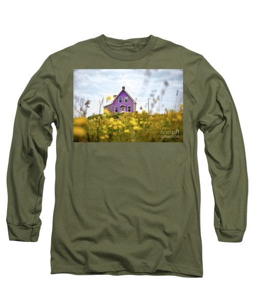 Purple House And Yellow Flowers Long Sleeve T-Shirt