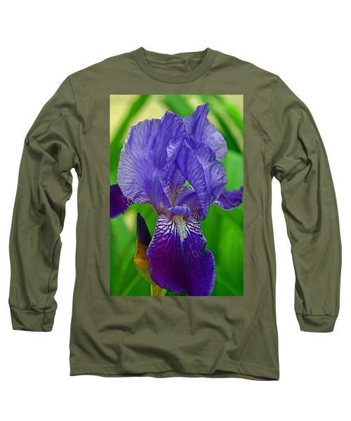 Purple Iris Long Sleeve T-Shirt by Lisa Phillips