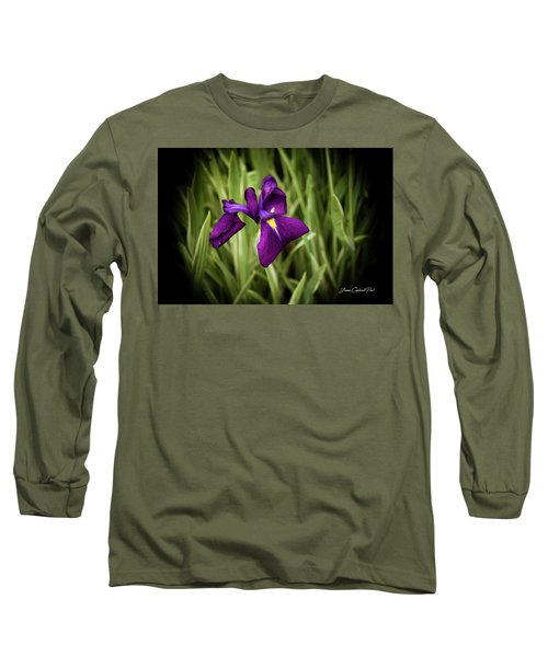 Long Sleeve T-Shirt featuring the photograph Purple Japanese Iris by Joann Copeland-Paul