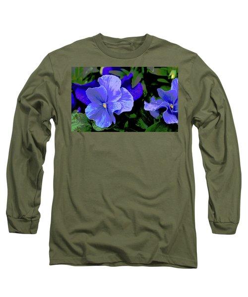 Purple Pansy Posterized Long Sleeve T-Shirt