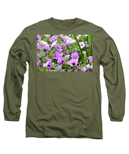 Long Sleeve T-Shirt featuring the photograph Purple Petunias by Kim Bemis