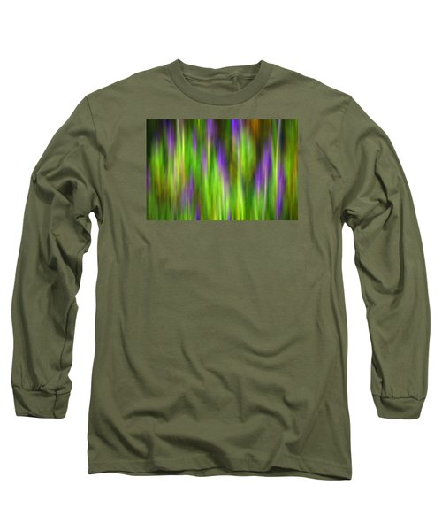 Purple Sage Digital Abstracts Motion Blur Long Sleeve T-Shirt by Rich Franco