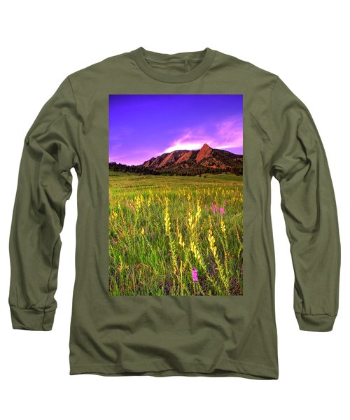 Purple Skies And Wildflowers Long Sleeve T-Shirt