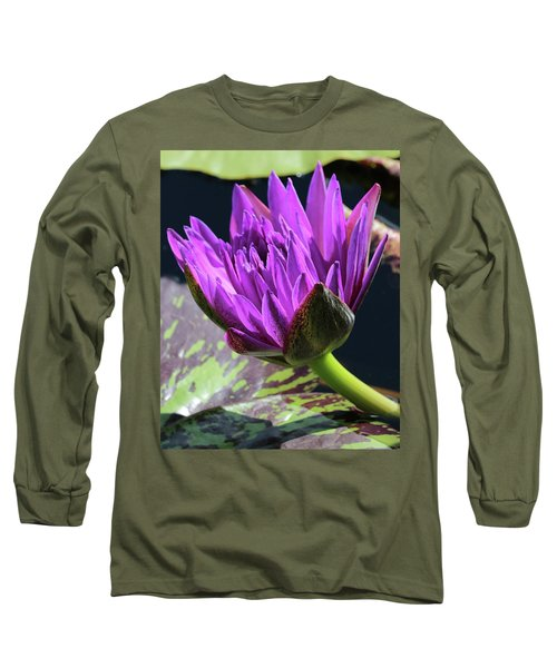 Purple Water Lily Long Sleeve T-Shirt