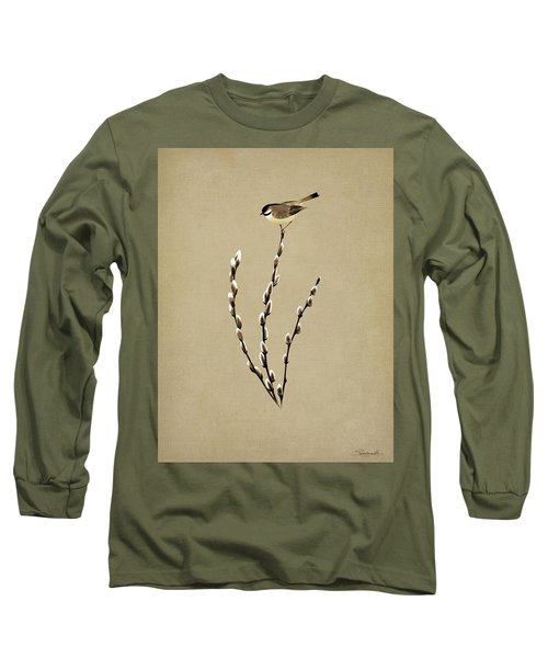 Pussy Willow And Chickadee Long Sleeve T-Shirt