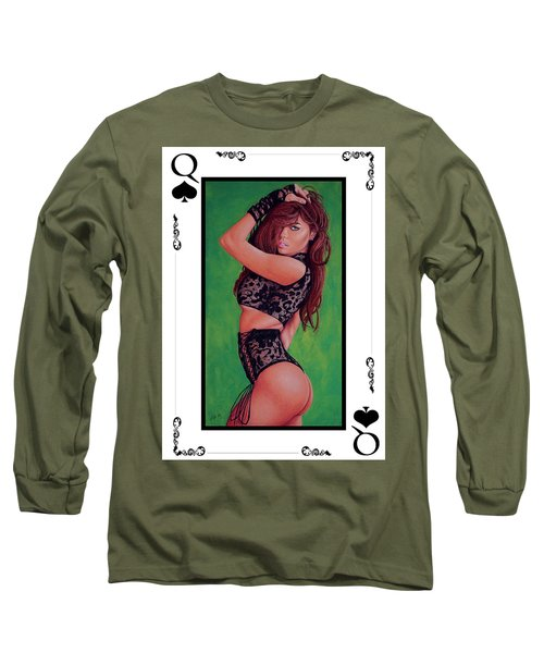 Long Sleeve T-Shirt featuring the painting Queen Of Spades by Joseph Ogle