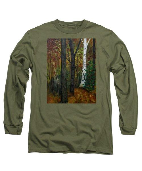 Quiet Autumn Woods Long Sleeve T-Shirt by FT McKinstry