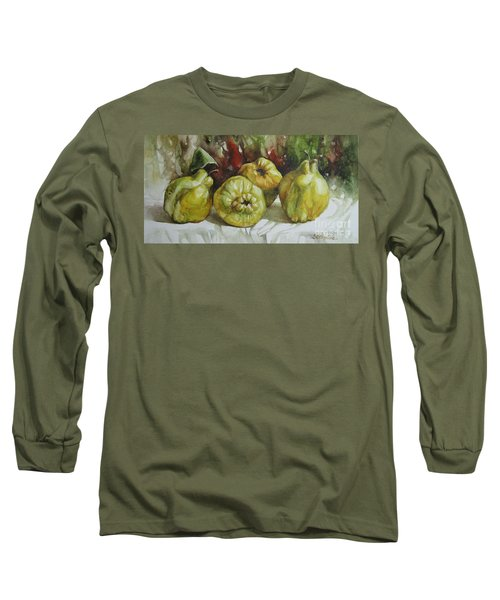 Long Sleeve T-Shirt featuring the painting Quinces by Elena Oleniuc
