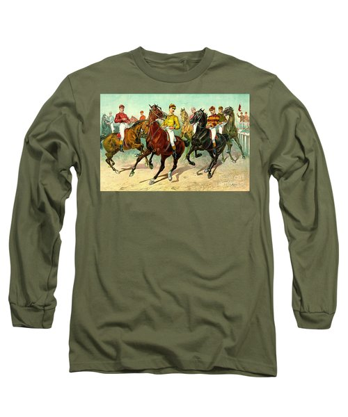 Racehorses 1893 Long Sleeve T-Shirt by Padre Art