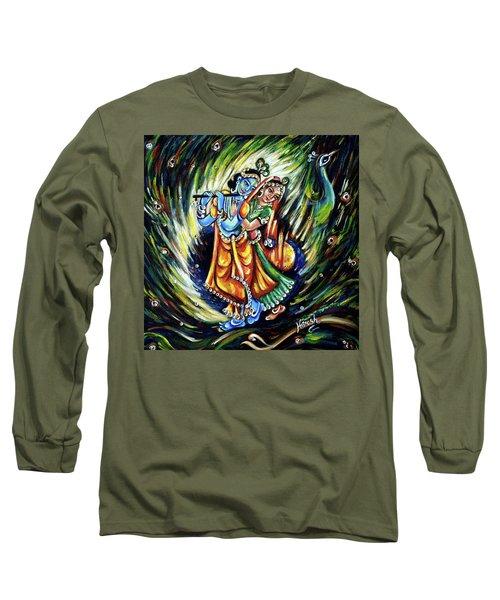 Long Sleeve T-Shirt featuring the painting Radhe Krishna by Harsh Malik