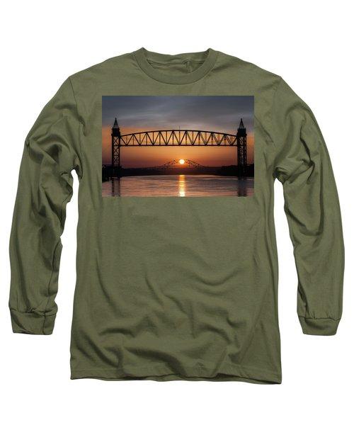 Railroad Bridge Framing The Bourne Bridge During A Sunrise Long Sleeve T-Shirt