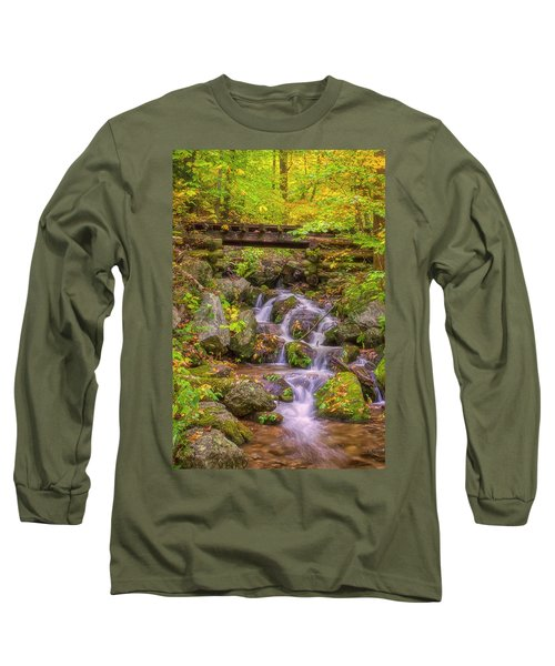 Railroad In The Woods Long Sleeve T-Shirt by David Cote