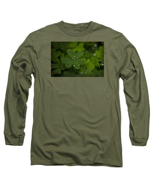 Rain Drops On Clover Long Sleeve T-Shirt
