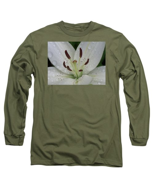 Rain Drops On Lily Long Sleeve T-Shirt