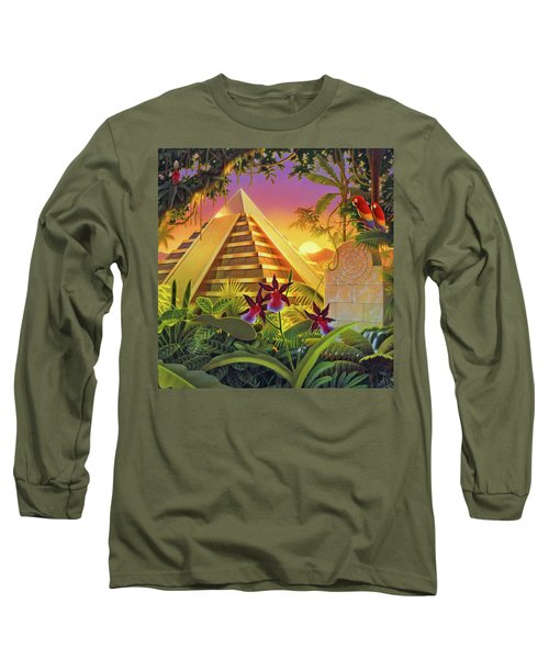 Rain Forest Pyramid  Long Sleeve T-Shirt by Robin Moline