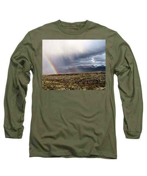 Long Sleeve T-Shirt featuring the painting Rain In The Desert by Dennis Ciscel