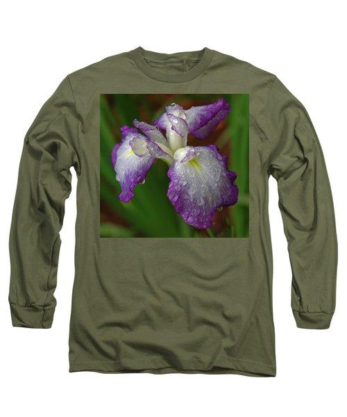 Rain-soaked Iris Long Sleeve T-Shirt by Marie Hicks