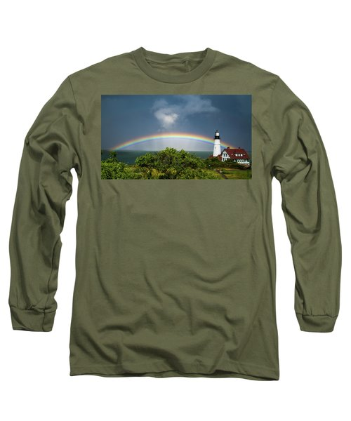 Rainbow At Portland Headlight Long Sleeve T-Shirt
