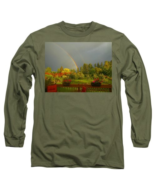 Rainbow From The Back Deck Long Sleeve T-Shirt by Karen Molenaar Terrell