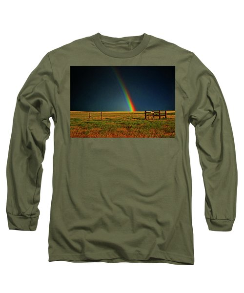 Long Sleeve T-Shirt featuring the photograph Rainbow In A Field 001 by George Bostian