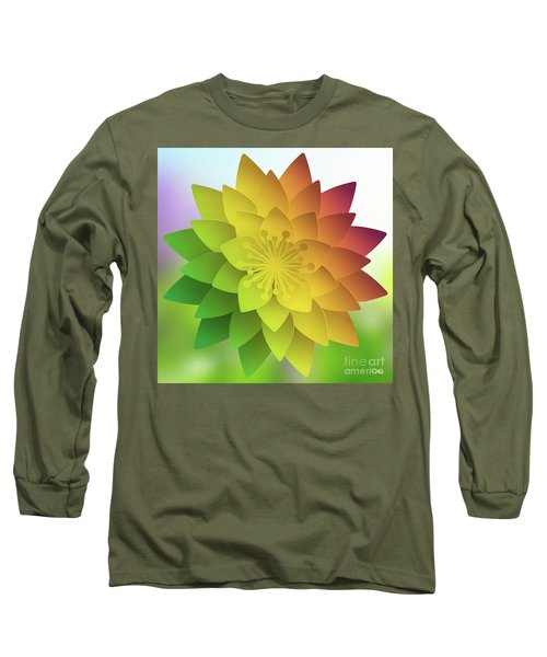 Long Sleeve T-Shirt featuring the digital art Rainbow Lotus by Mo T