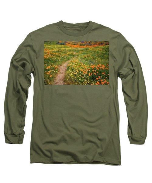 Rainbow Of Wildflowers Bloom Near Diamond Lake In California Long Sleeve T-Shirt