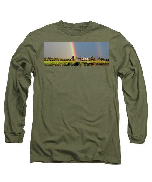 Rainbow Over Barn Silo Long Sleeve T-Shirt
