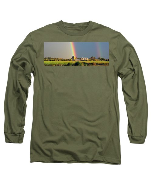 Rainbow Over Barn Silo Long Sleeve T-Shirt